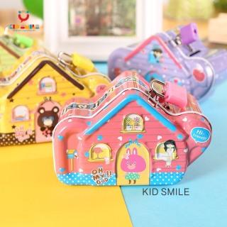 Ống heo két sắt mini tiết kiệm tiền có khóa mẫu mới hình ngôi nhà dễ thương rèn luyện cho bé tính tiết kiệm thumbnail