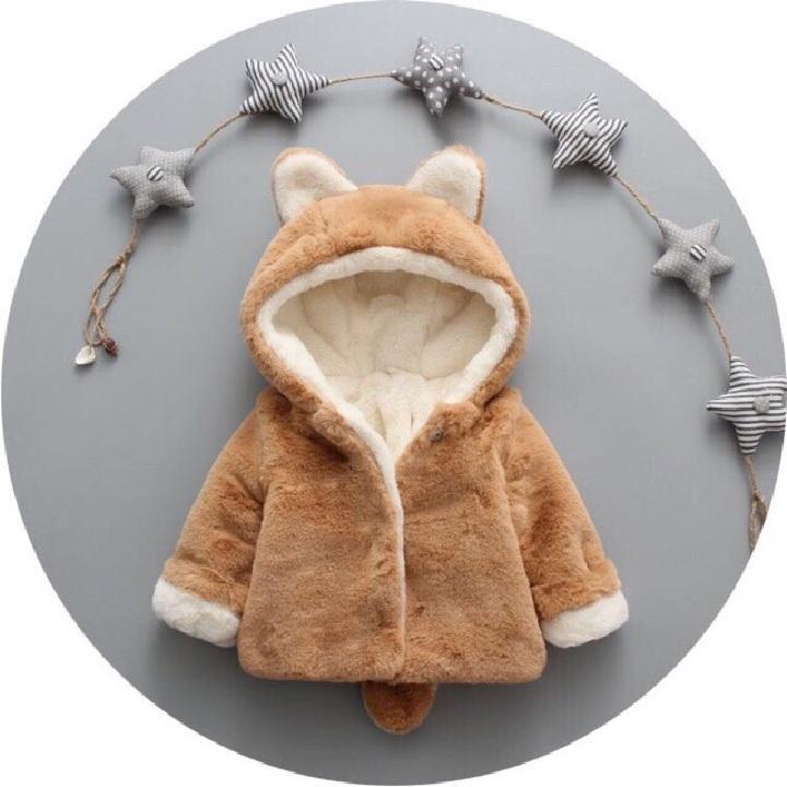 Giá bán Áo khoác lông đuôi chồn mềm mịn cho bé gái từ 3kg đến 19kg