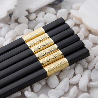 Bộ 10 đôi đũa khảm vàng phong cách Nhật Bản - Phụ kiện bàn ăn - Đồ dùng nhà bếp - Đũa hợp kim - Đũa chống mốc - Đũa chống trơn - Bộ đồ dùng ăn uống - Bàn ăn - Bếp - Đũa họa tiết đẹp - Đũa không trơn - Bộ đũa cao cấp - Quà tặng - Đũa chạm khắc thumbnail