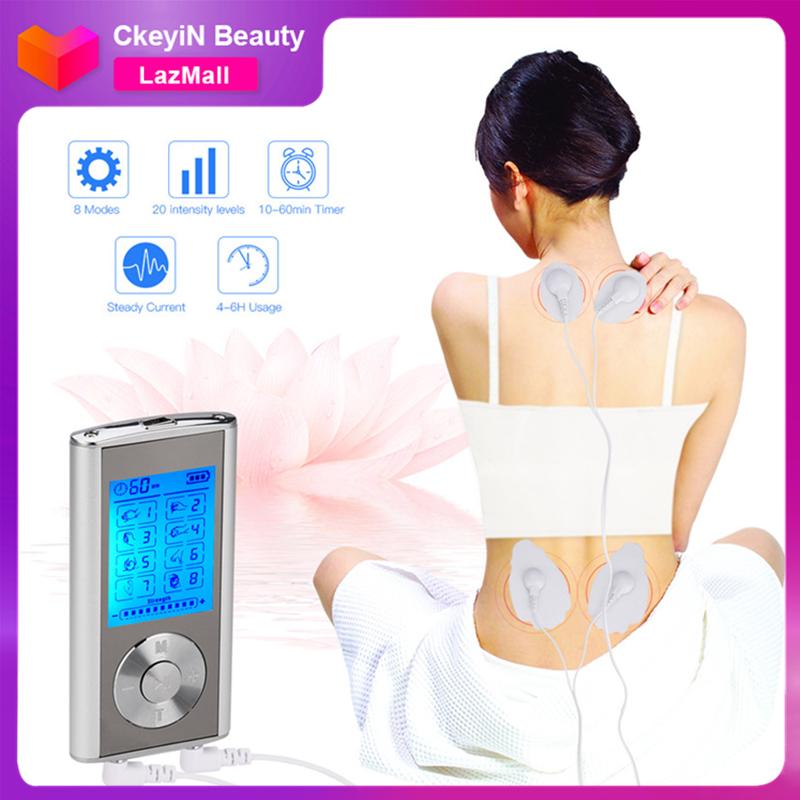 CkeyiN Máy mát xa cầm tay kèm 4 miếng đệm xung điện trị liệu dùng để kích thích cơ bắp hoặc giảm đau cơ bắp với 8 chế độ điều khiển - INTL