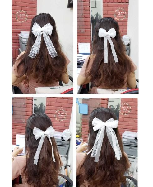 Cặp tóc tông trắng tiêu thư bồng bềnh
