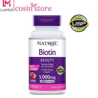 Viên ngậm nhai Natrol Biotin 5,000mcg Extra Strength 250 viên Beauty Fast Dissolve vị dâu của Mỹ - Hỗ trợ tóc móng khỏe biotin 5000 mcg thumbnail