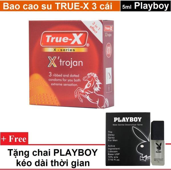 Combo 1 hộp Bao cao su True-x XTROJAN gân gai - chấm nổi hộp 3c tặng 1 chai xịt PLAYBOY 5ml