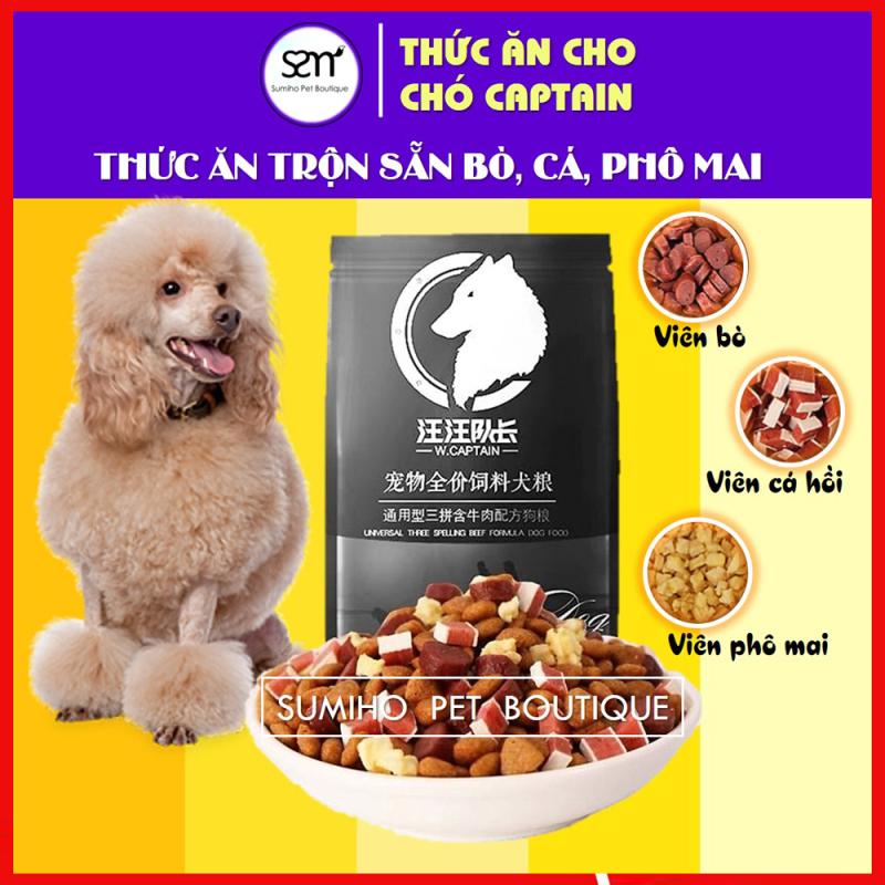 Hạt thức ăn cún cưng Captain (2.5Kg) trộn lẫn thịt bò, phô mai, cá hồi, rau củ nguyên chất phù hợp mọi loại chó
