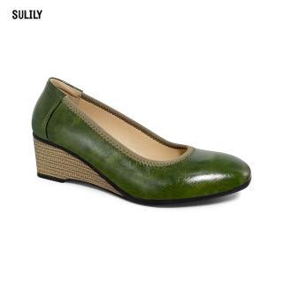 Giày Búp Bê Đế Xuồng Da Thật AD by Sulily màu rêu mang êm chân