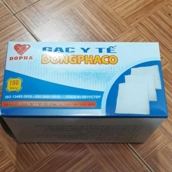 Gạc y tế đắp mặt nạ Đông Pha 8 lớp 10 x 10cm hộp 100 miếng