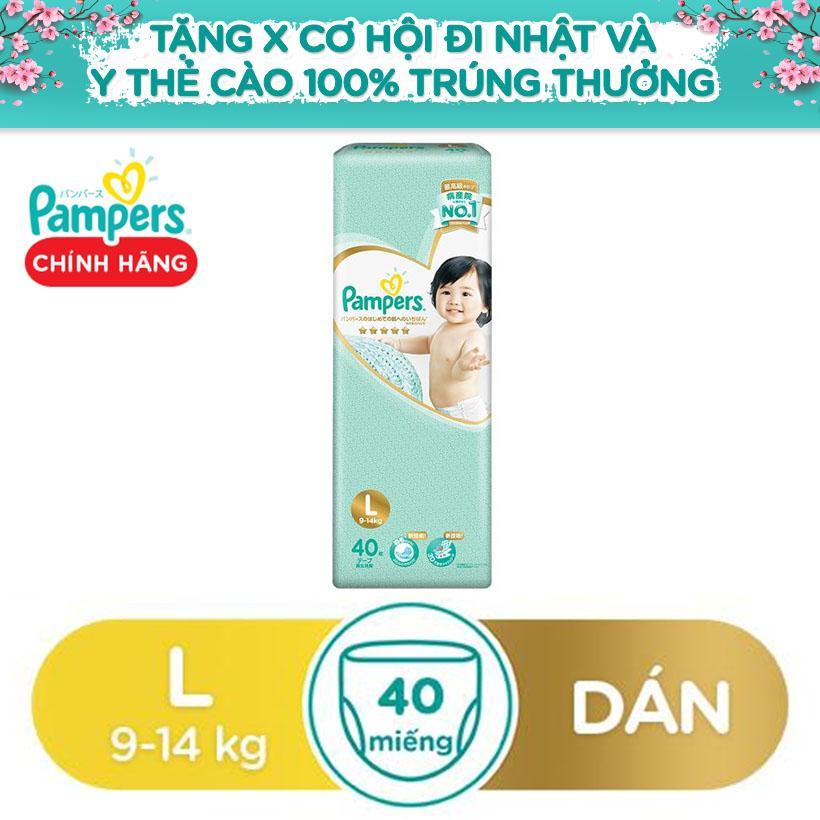 Mã Giảm Giá tại Lazada cho Tã Dán Pampers Nhật Bản Size L 40 Miếng (9-14kg)