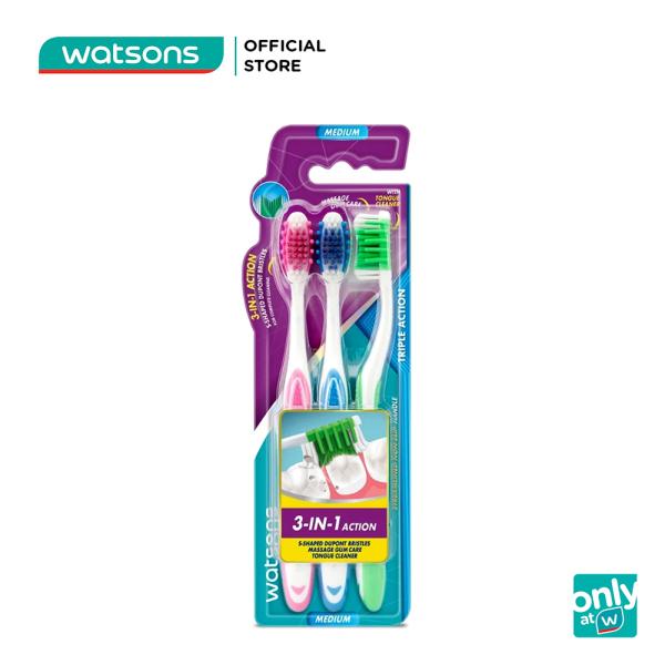 Bàn Chải Đánh Răng 3 Tác Động Watsons (Trung Bình) 3Cây giá rẻ