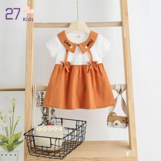 27 Đầm Trẻ Em Bé Gái, Đầm Công Chúa Ngắn Tay Cho Trẻ Sơ Sinh Trẻ Nhỏ Trang Phục Trang Trí Thắt Nơ Chữ Cổ Áo