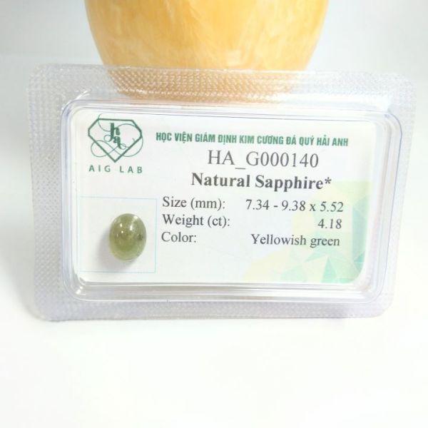 Mặt đá Sapphire lục tự nhiên - 4.18ct - Viên rời - Ép vỉ niêm phong - HA-G000140