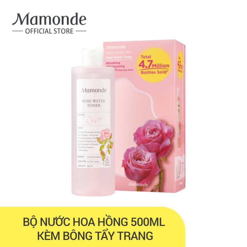 [PHIÊN BẢN ĐẶC BIỆT] Nước hoa hồng cung cấp độ ẩm Mamonde Rose Water Toner 500ml (Tặng kèm 20 bông tẩy trang đắp mặt nạ) cao cấp