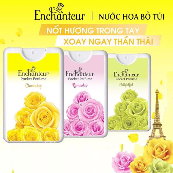 [ HƯƠNG THƠM DỊU DÀNG, QUYẾN RŨ ] 01 Chai x 18ml x 250 lần xịt Nước hoa bỏ túi Enchanteur bỏ túi mùi Charming/ Romantic/ Delightful (Date: 11/2023) - Giao ngẫu nhiên.