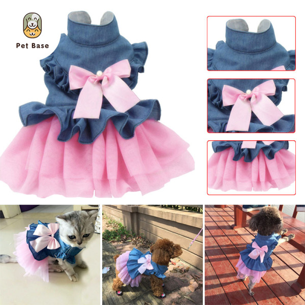 Dog Pet Dress Wedding Puppy Bowknot Dresses Clothing Spring Summer Pets Clothes