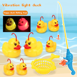 9 Pcs Set Induction Duck Fishing Game Bath Toy Pond Pool Toy Kid Educational Preschool Toy,Specially Designed For Children,Safe And So Cute Little Yellow Duck thumbnail
