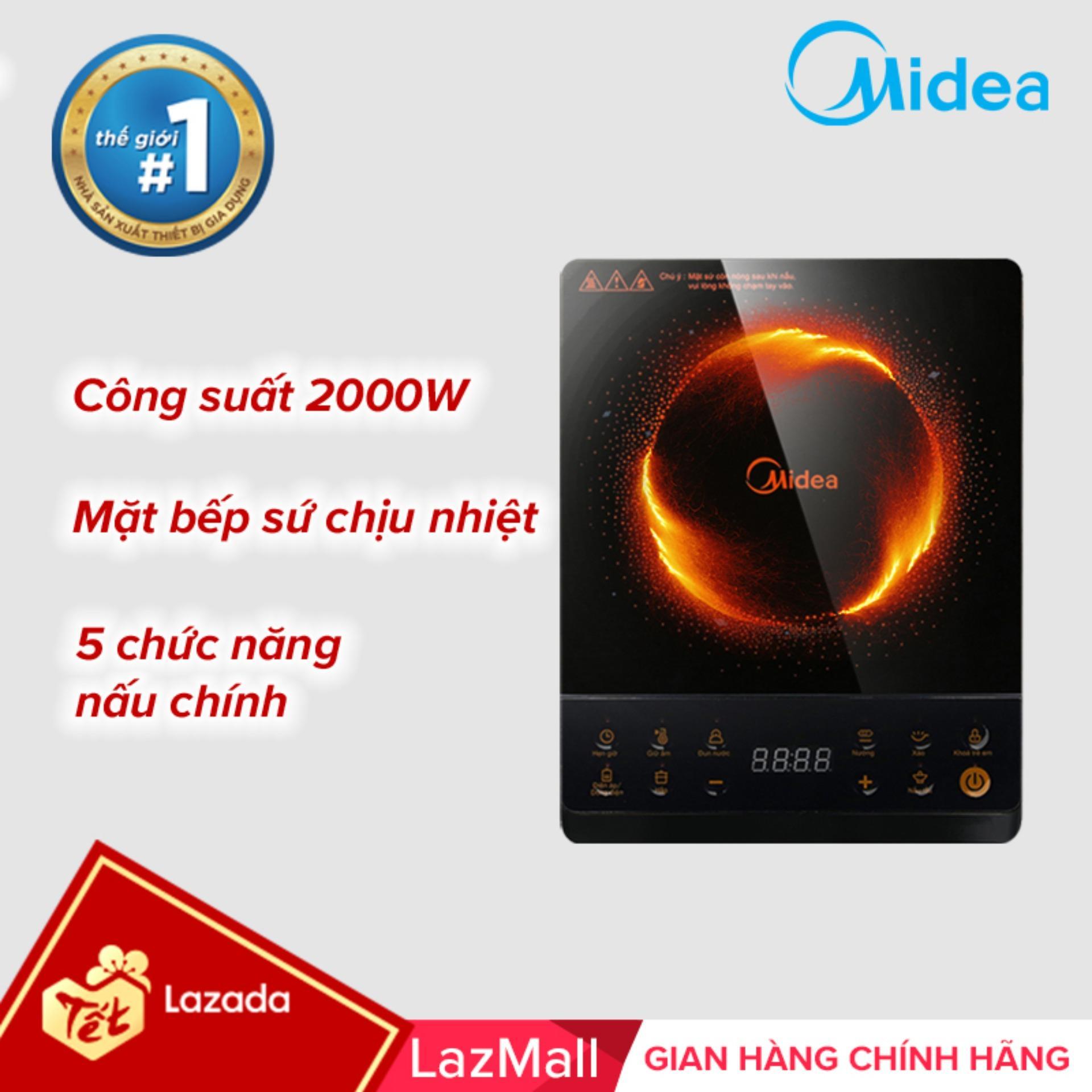 Midea bếp hồng ngoại cơ chịu nhiệt công suất 2000W không kén nồi mẫu 2019 Midea MIR-B2018DG - Bảo hành 1 năm chính hãng