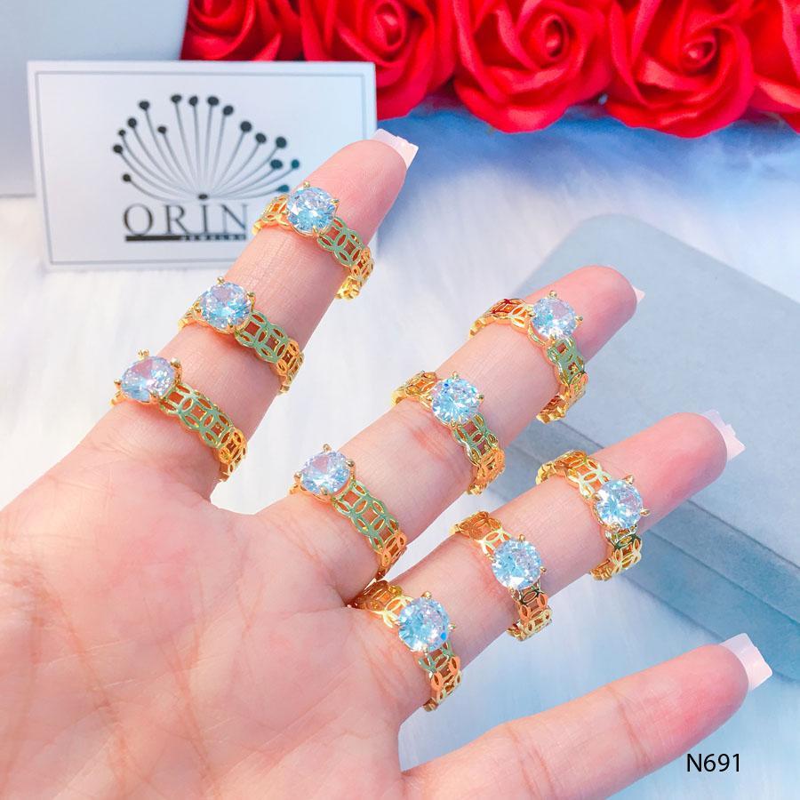 Nhẫn nữ cao cấp, nhẫn kim tiền đính đá may mắn tài lộc  thiết kế cao cấp Orin N691