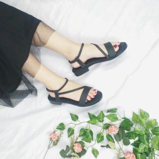 [HCM]Giày sandal nữ đi học - FreeShip - Giày sandal nữ đi học quai hậu đế nhựa PU cao 2p mang đi làm đi học đi chơi - TB06 thumbnail