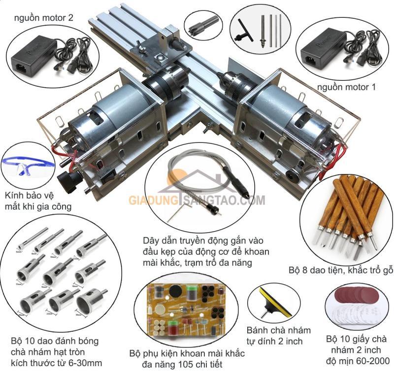 Máy tiện hạt chuỗi mini 2 motor kiêm khoan mài khắc đa năng