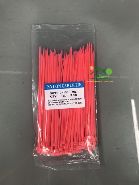 Dây rút nhựa màu hồng tôm 2.5x150mm