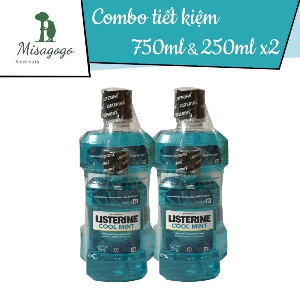 Combo 2 cặp Nước súc miệng Listerine 750ml + 250ml giá rẻ