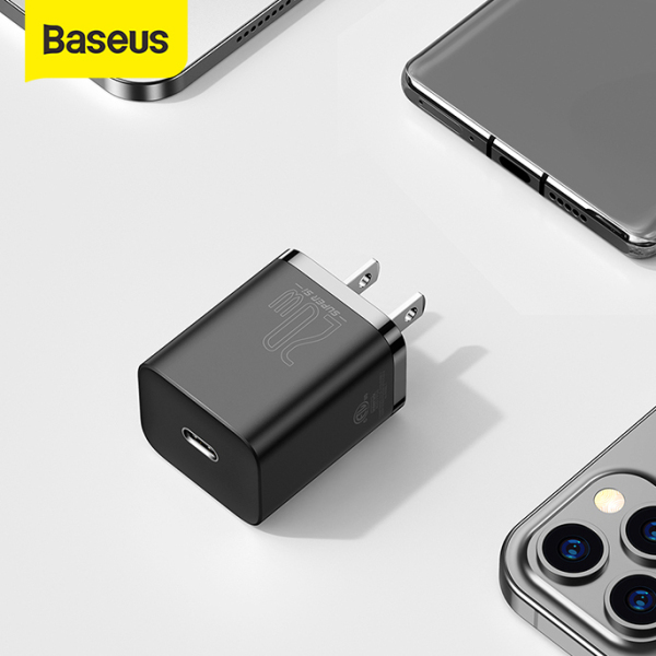 Cốc Sạc Nhanh BASEUS Mini 20W Super Si,  Đầu ra Type-C, Sạc Nhanh dùng cho iPhone 12 iPad Xiaomi OPPO Vivo Vinsmart HUAWEI, 2 Màu Trắng Đen