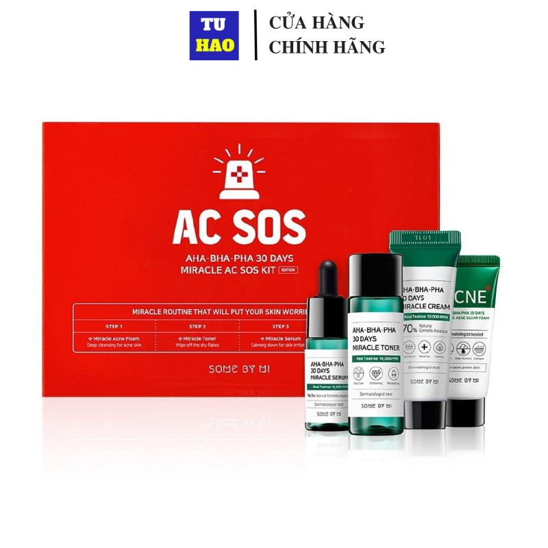 Bộ Kit 4 sản phẩm dưỡng da giảm mụn Some By Mi AHA - BHA - PHA 30 Days Miracle AC SOS Kit giá rẻ