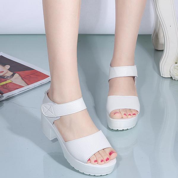 Giảm Giá Quá Đã Phải Mua Ngay Giày Sandal Nữcá Tính,giày Sandal Nữ Chất Da Quai Dán ,đế Cao 7cm S062