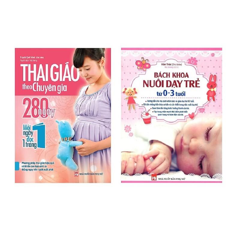 Combo 2 cuốn Sách Thai giáo theo chuyên gia + Bách khoa nuôi dạy trẻ từ 0-3 tuổi- Mhbooks tặng sổ tay