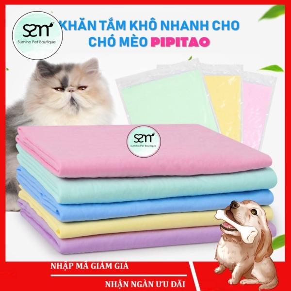 Khăn tắm khô nhanh cho chó mèo (2 size - màu ngẫu nhiên) Khăn tắm thấm nước cho thú cưng
