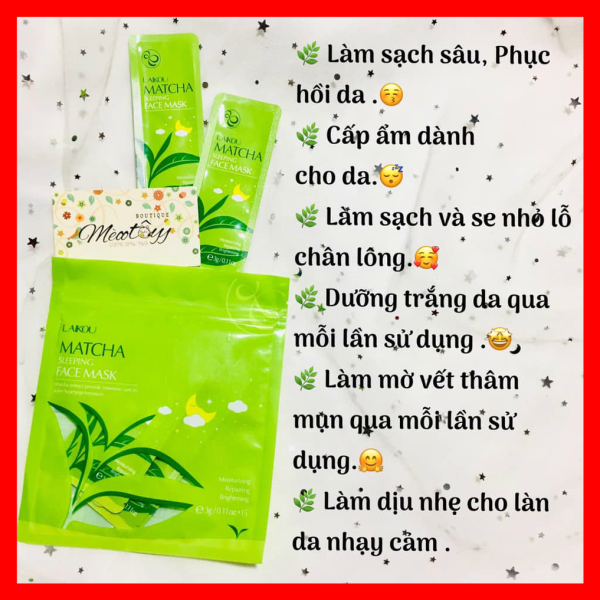 [15 Gói nhỏ] mặt nạ ngủ trà xanh Matcha Laikou dưỡng da mụn cấp ẩm thải độc trắng sáng da giá rẻ