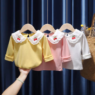 Áo & Áo Ba Lỗ Áo Thun Dài Tay Cho Bé Gái Mới 2020 Trẻ Em Của Quần Áo Áo Sơ Mi Có Ve Áo Cotton Cho Bé Gái Bé Áo Trắng 0-5 Năm