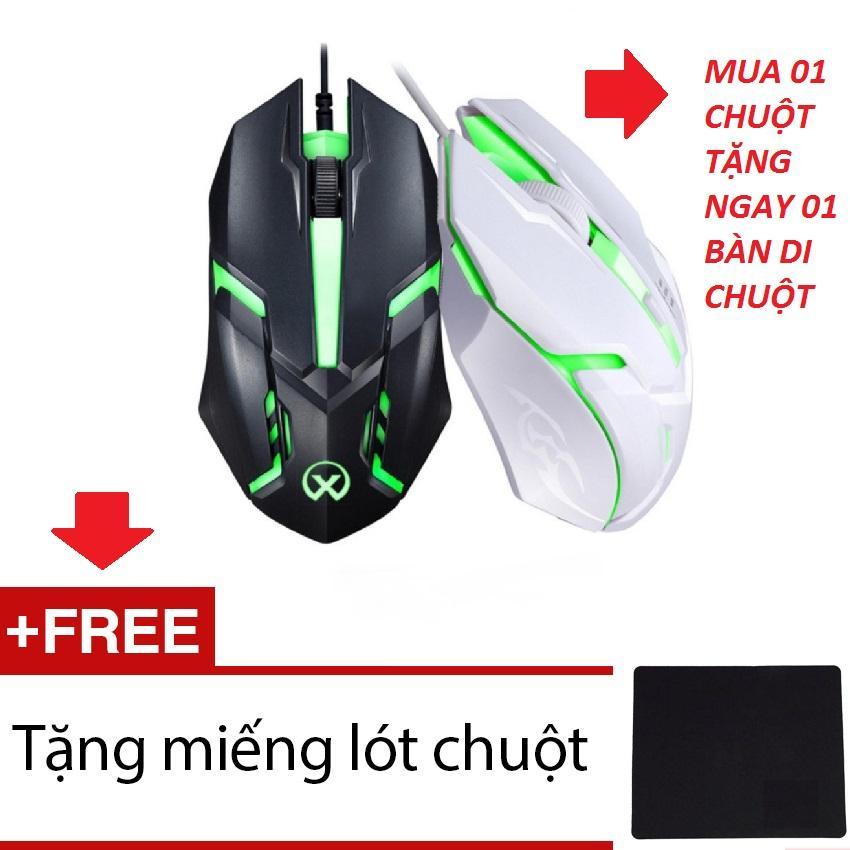 Chuột chơi game có dây Mouse gaming ANCOM GL SCH-02X6 (Đen-2458) + Tặng 1 miếng lót chuột