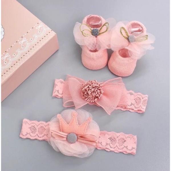 Giá bán Set Giầy tất hài kèm Băng đô công chúa cực iu cho bé từ 0-3 tháng (Giao ngẫu nhiên)
