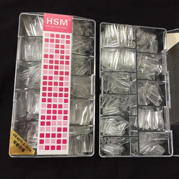 Hộp móng úp HSM màu trong 500 chiếc đủ size từ 0 đến 9