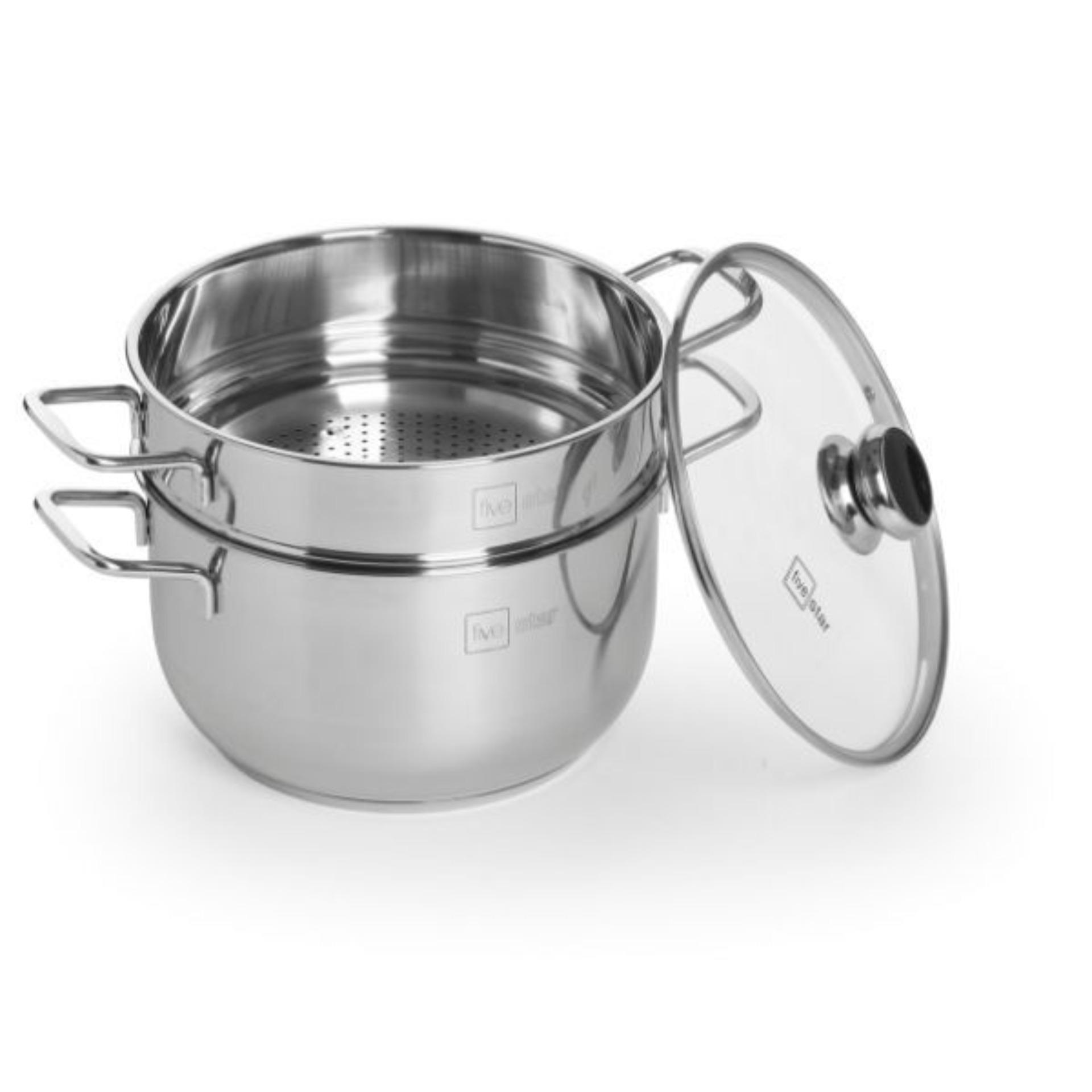 Bộ xửng hấp 3 đáy inox 430 FiveStar Standard  bếp từ nắp kính tặng 5 muỗng ăn ( 24cm )- Shop Bếp Xinh