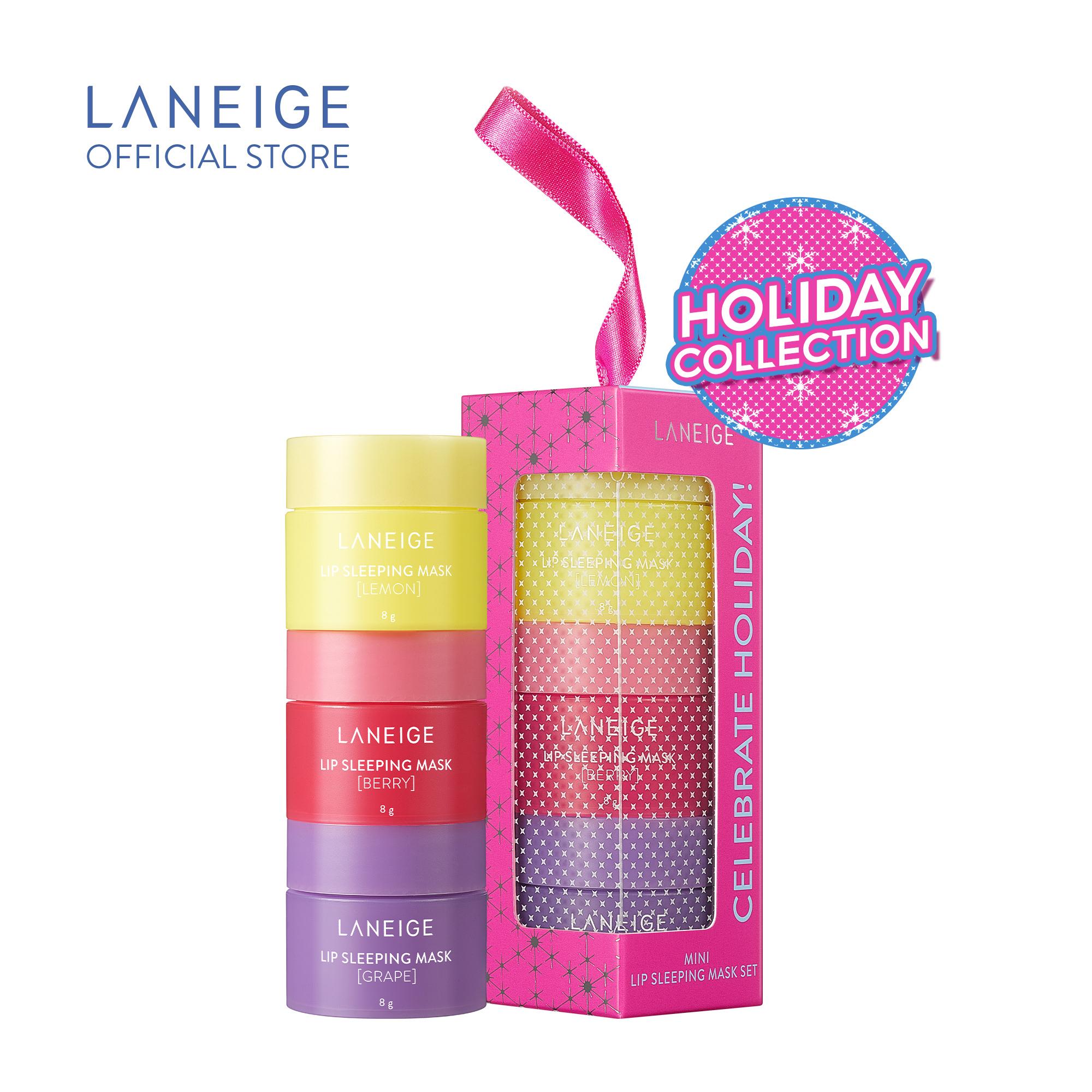 Bộ 3 mặt nạ ủ môi giúp dưỡng môi căng mọng ẩm mịn Laneige hương quả mọng, chanh và nho...