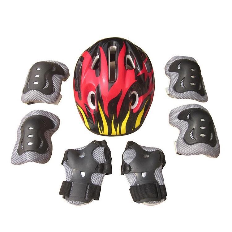 Mua 7 chiếc Trẻ Em Khuỷu Tay Cổ Tay Lót Đầu Gối + Tặng Mũ Bảo Hiểm dành cho Thể Thao Ván Trượt Trượt Patin Đi Xe Đạp Bảo vệ An Toàn Bộ (xanh dương)