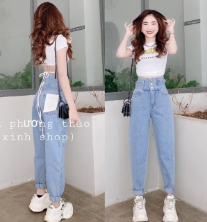 Quần baggy nữ, quần jean nữ chất bò lưng cao thời trang cao cấp tôn dáng phù hợp nhiều lứa tuổi THINHTUNG SHOP ms828 thumbnail