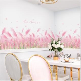 Decal dán trang trí chân tường hoa cỏ may hồng thumbnail