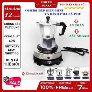 [Combo Bình pha cafe Moka Pot 300ml kèm bếp điện]Ấm pha cafe - Bình pha cà phê - Ấm pha cà phê - Ấm pha cafe siêu tốc-Bếp điện mini đun nóng cafe, trà, hâm cháo, sữa-bình pha cà phê moka pot express 300 ml 6 tách kèm bếp điện thumbnail