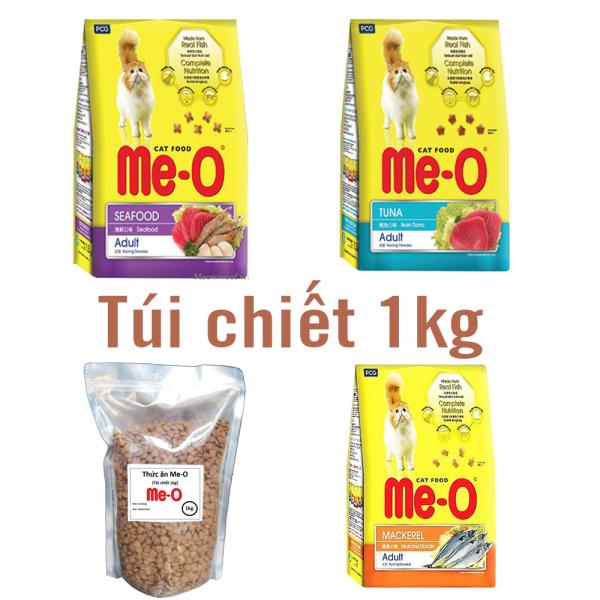 (Túi chiết 1kg) Thức ăn mèo ME-O 3 vị - thức ăn cho mèo lớn- thức ăn cho mèo trưởng thành cá ngừ cá thu hải sản