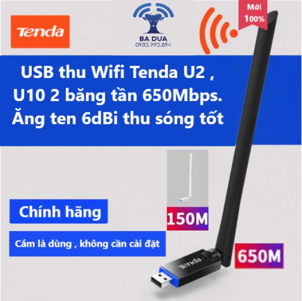 Giá USB Wifi - USB Thu Wifi Tenda U2 , Tenda U10 2 băng tần AC650Mbps