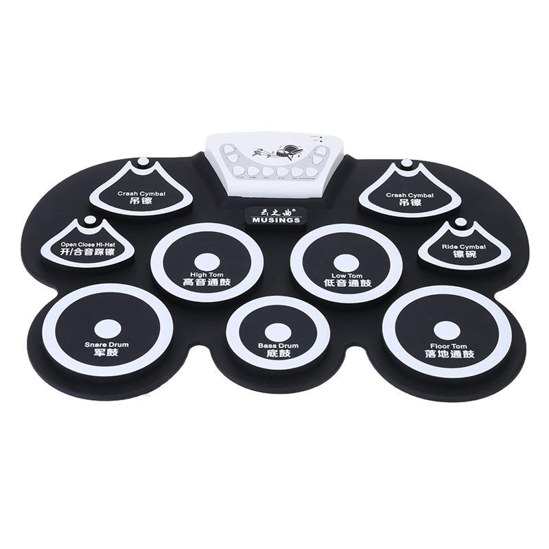 Silicone Portable Foldable Digital Usb Roll-Up Electronic Drum Pad Kit With Stick And Foot Pedal