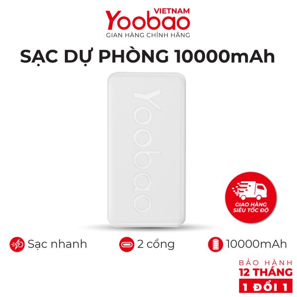 Sạc dự phòng 10000mAh Yoobao P10T Sạc nhanh 2.1A - Hàng phân phối chính hãng - Bảo hành 12 tháng 1 đổi 1