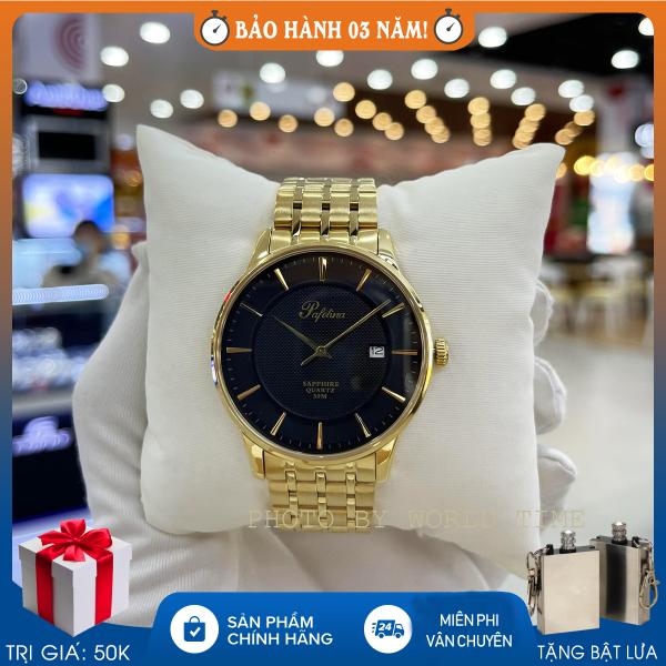 Đồng hồ pin, đồng hồ nam dây thép Pafolina 5027M full box, kính sapphire chống nước chống xước, bảo hành 3 năm