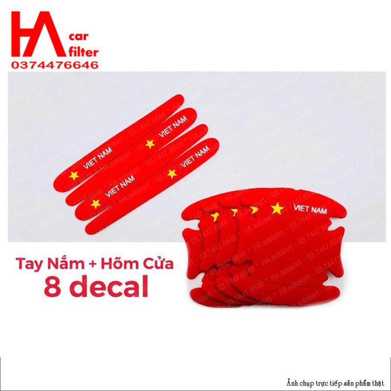 Bộ 8 tấm chống xước HÕM CỬA TAY NẮM ô tô silicone loại dầy, hình quốc kỳ Việt Nam, màu trắng và đỏ, Tặng 2 miếng dán gương chiếu hậu.