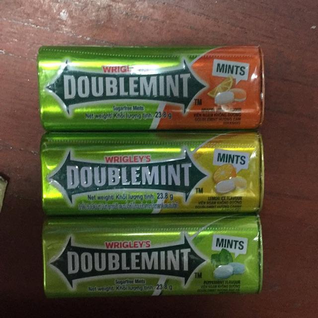 Combo 3 hộp Kẹo ngậm thơm miệng DoubleMint hộp thiếc hương Cam, Chanh, Bạc Hà ((DoubleMint 23.8g x 3 sản phẩm)