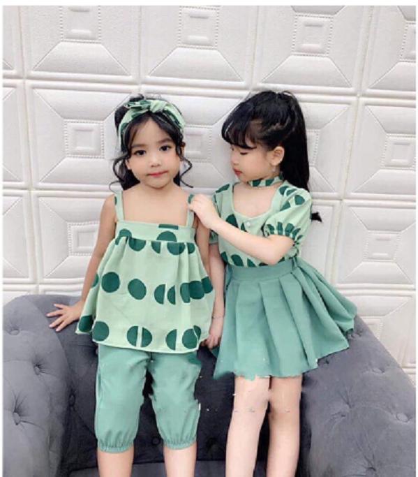 COMBO 2 SET đồ bé gái QUẦN và VÁY họa tiết chấm bi