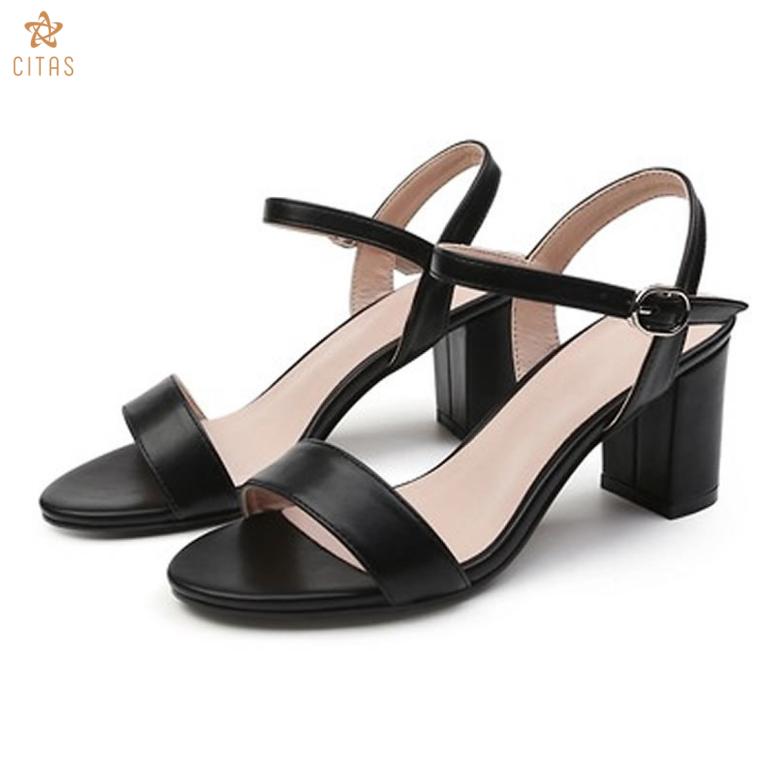 Giày sandal cao gót da mềm CITAS  đế vuông cao 7cm phong cách công sở giá rẻ
