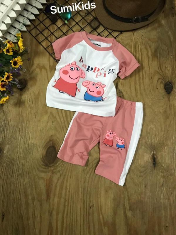 Nơi bán Bộ thun Peppa Pig bé gái - Màu hồng ruốc (Size 1-8) bé 6 đến 22 kg